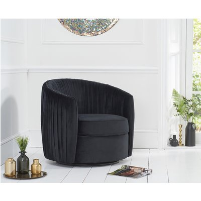 Sarah Black Velvet Swivel Chair