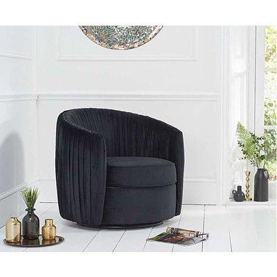 Ex-display Sarah Black Velvet Swivel Chair