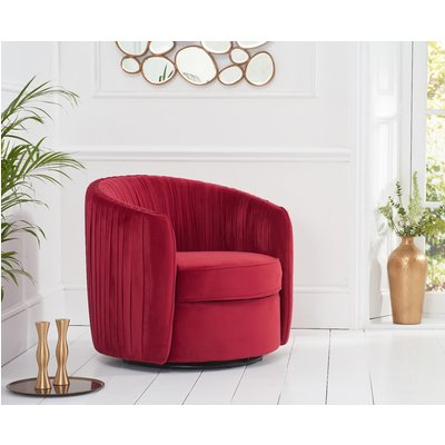 Sarah Red Velvet Swivel Chair