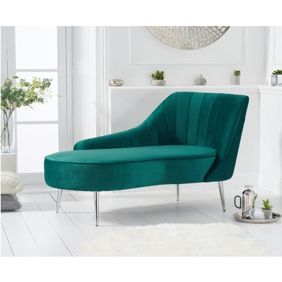 Jessica Right Facing Green Velvet Chaise