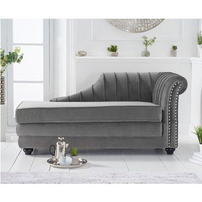Leyla Right Facing Grey Velvet Chaise