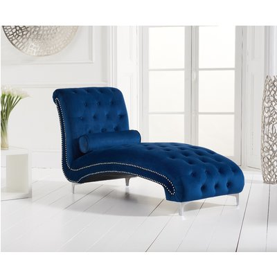 New York Blue Velvet Chaise Lounge