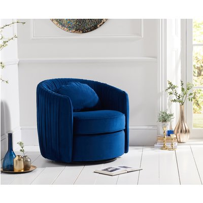 Sarah Blue Velvet Swivel Chair