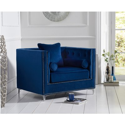 New York Blue Velvet Armchair