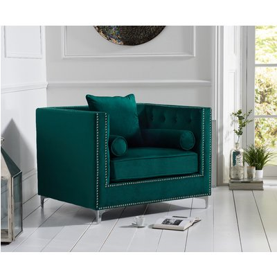 New York Green Velvet Armchair