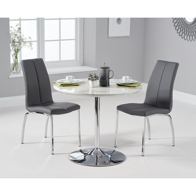 Delaney 90cm Round High Gloss Carrera Grey Dining Table With Cavello Dining Chairs - Grey, 2 Chairs