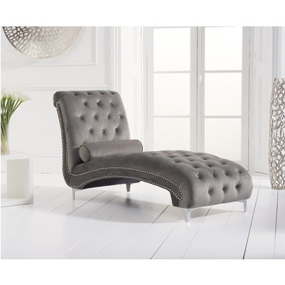 New York Grey Velvet Chaise Lounge