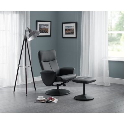 Lucus Black Faux Leather Swivel and Recline Chair