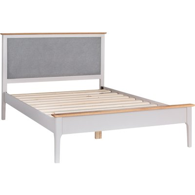 Daniella Oak and Grey Double Bed Frame with Fabric Headboard