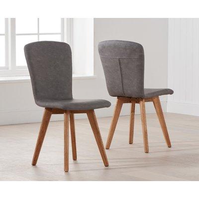 Tivoli Retro Faux Leather Grey Dining Chairs