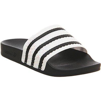 adidas Adilette Slider CORE BLACK IRIDESCENT F,Black,Blue