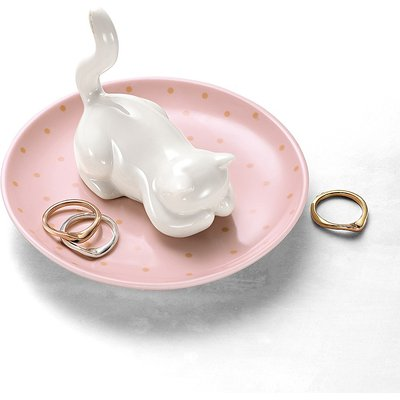 Coy Cat Porcelain Trinket Dish