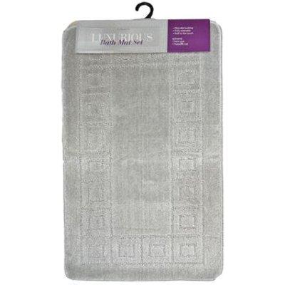 2 Piece Luxurious Bath Mat Set Light Grey