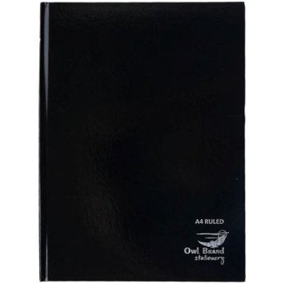 Owl Brand Casebound Notebook Ruled A4 80 Sheets - Black