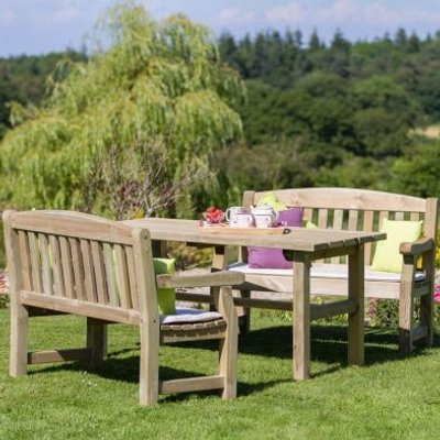 Emily Garden Table and 2 Benches Set