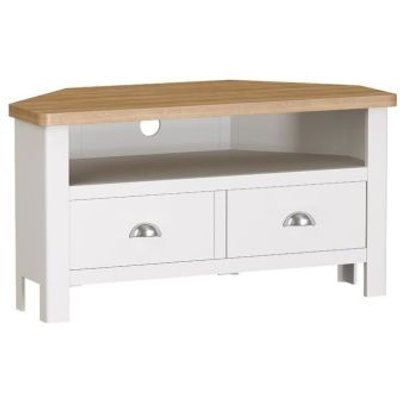 Jasmine White 2 Drawer Corner TV Unit