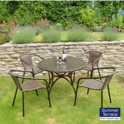 Nnardi Fleuretta 90 Garden Patio Set & 4 San Remo Chairs