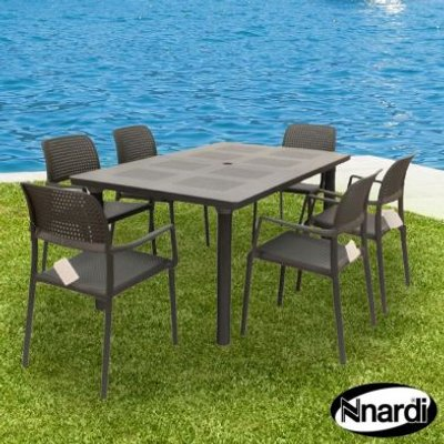 Libeccio Garden Furniture Set & 6 Anthracite Bora Chairs