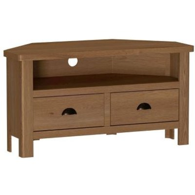 Rutland Oak Corner TV Unit Rustic