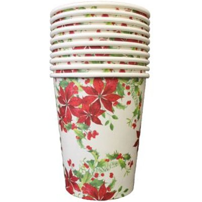 Christmas Paper Cup 10 Pack - Flowers