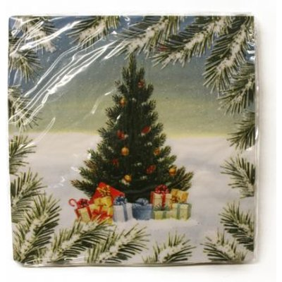 Christmas Lunch Napkin 25 Pack - Tree Presents