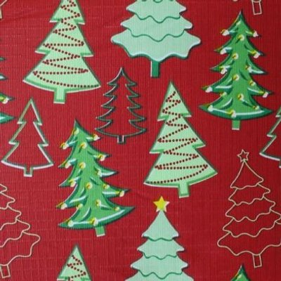 Christmas PEVA Tablecloth - Red Trees 50 x70
