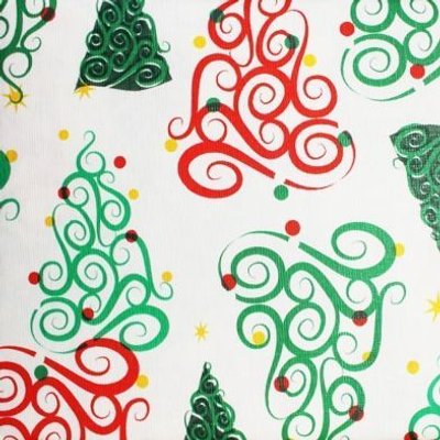 Christmas PEVA Tablecloth - Curly Trees 50 x 50