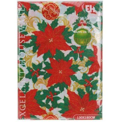 Christmas Tablecloth -  Holly & Baubles