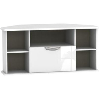Weybourne Corner TV Unit White 5 Shelf 1 Drawer