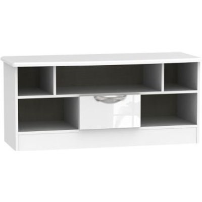 Weybourne TV Unit White 5 Shelf 1 Drawer