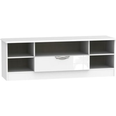 Weybourne Wide TV Unit White 5 Shelf 1 Drawer