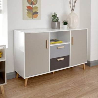 Delta Sideboard White & Grey 2 Door 1 Shelf 2 Drawer