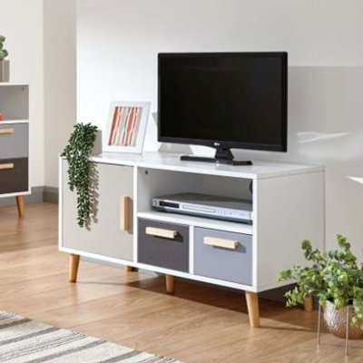Delta TV Unit White & Grey 1 Door 1 Shelf 2 Drawer Small