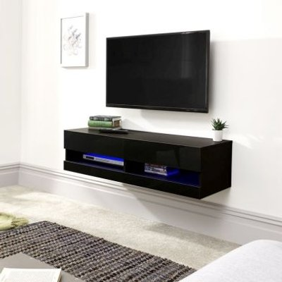 Galicia Wall TV Unit Black 2 Shelf 120cm