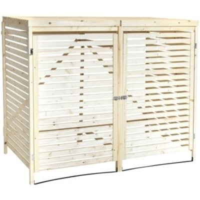 Wooden Garden Outdoor Double Bin Store & Lifting Lid