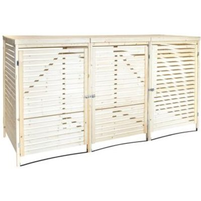 Wooden Garden Outdoor Triple Bin Store & Lifting Lid