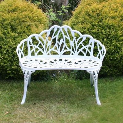 Tulip Cast Aluminium Metal 2 Seater Garden Bench Seat White