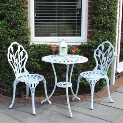 2 Seater Cast Aluminium 3 Piece Cast Garden Bistro Set - White