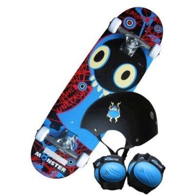 "28"" Monster Skateboard Set - Board Helmet Pads and Backpack"