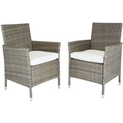 Verona Pair Of Rattan Dining Chairs Garden Furniture - Brown