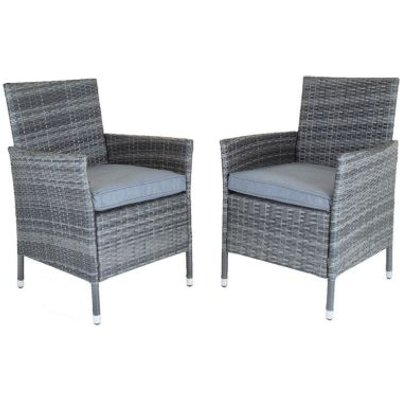 Napoli Pair Of Rattan Dining Chairs Garden Furniture - Grey