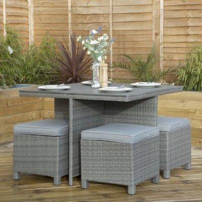 Rattan & Polywood Cube Garden Dining Furniture Set