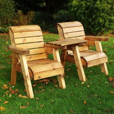 Little Fellas 2 Seat Straight Redwood Kids Twin Companion Garden Seat