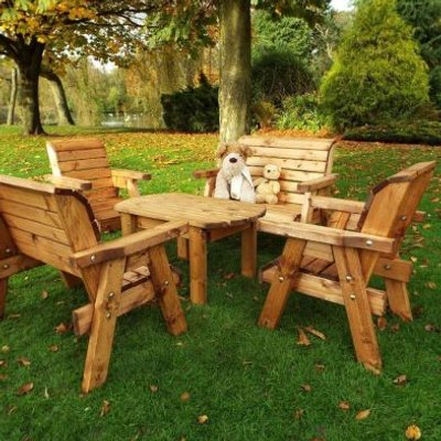 Little Fellas 6 Seat Redwood Kids Deluxe Garden Furniture