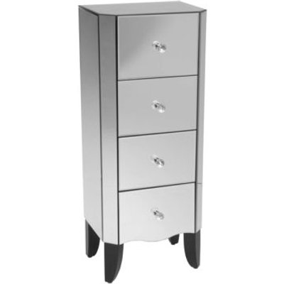 4 Drawer Mirrored Glass Tallboy with Wooden Legs