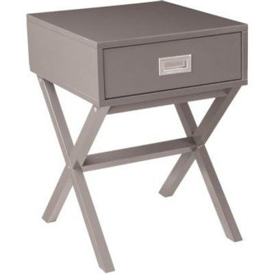 1 Drawer Retro Bedside Table - Grey