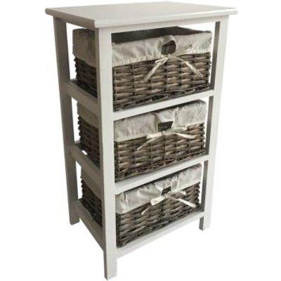 3 Wicker Baskets Home Wooden Storage Tower - Grey