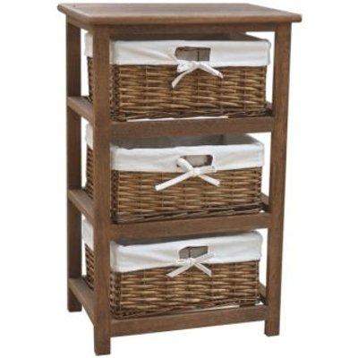 3 Wicker Baskets Home Wooden Storage Tower - Brown