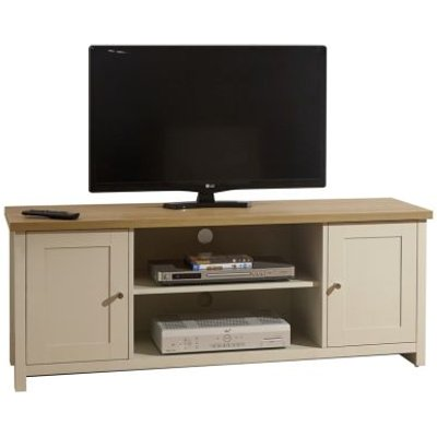 Lancaster TV Unit Cream & Oak 2 Door 2 Shelf Large