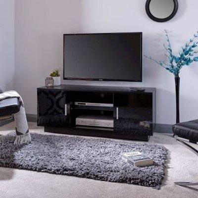 Lima TV Unit Black 2 Door 2 Shelf